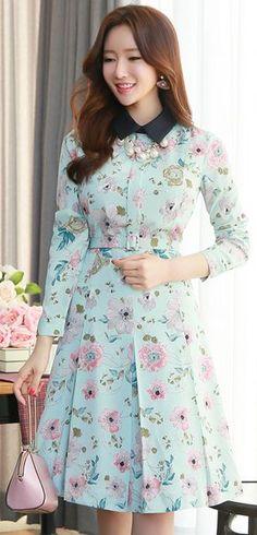 StyleOnme_Floral Print Belted Collared Dress #light #blue #floral #springtrend #koreanfashion #dress #seoul #kstyle #feminine #sweet #kfashion