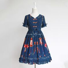 Customized Cute Chinese Royal Palace Style Vintage Lolita Chiffon Dress 3 Colors