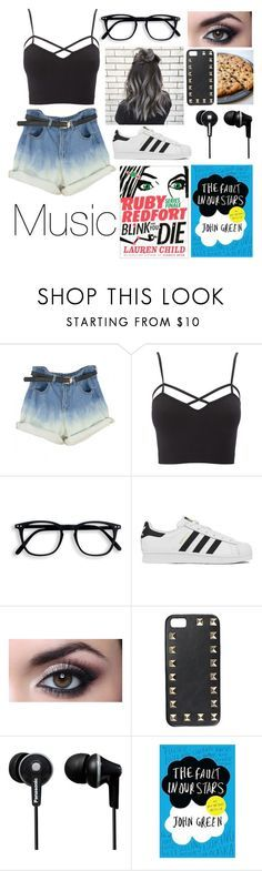 """""""Road Trip RTD"""" by happinesspeaceandlove ❤ liked on Polyvore featuring Charlotte Russe, adidas, Valentino, Panasonic and plus size clothing"""