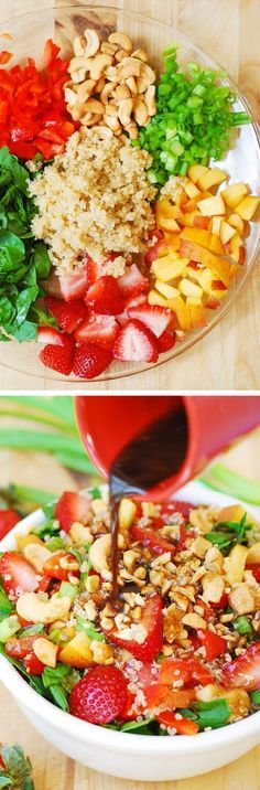 Strawberry, quinoa, spinach and cashew salad in a homemade honey-mustard balsamic vinegar dressing.