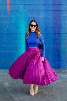 Pleated midi skirt via Style Charade