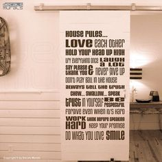 Wall decals HOUSE RULES Vinyl quote lettering surface graphics - Interior decor by Decals Murals (28x53) on Etsy, $49.00