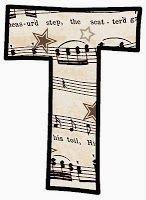 "ArtbyJean - Vintage Sheet Music Alphabet ""T"""