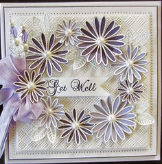 PartiCraft (Participate In Craft): Wednesday Weekly Card Giveaway checkeredboard embossing folder Delicate Daisies die set Sue Wilson, Scrapbook Cards, Scrapbooking, Spellbinders Cards, Beautiful Handmade Cards, Get Well Cards, Flower Cards, Creative Cards, Homemade Cards