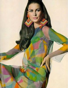 Vouge US, March 1967 Editha Dussler in a silk chiffon dress by Helga, Photographed by Irving Penn