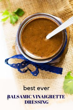 (Robin made this and it was so yummy!) This is the BEST Balsamic Vinaigrette ever! With the perfect blend of sweet and heat, this simple dressing recipes is simple to make and will rock your salads! Balsamic Vinegarette, Balsamic Vinaigrette Recipe, Salad With Balsamic Dressing, Best Balsamic Dressing Recipe, Asian Dressing, Easy Dressing Recipe, Salad Dressing Recipes, Salad Dressings, Sauces