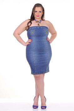 Moda feminina plus size   86900 Vestido tomara-que-caia jeans