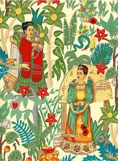 Retal beige con imágenes de Frida Kahlo, monos, árboles, flores, fruta y pájaros multicolor. El producto se envía por correo certificado con número de seguimiento.