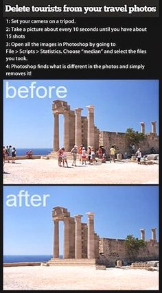 Delete tourists from your travel photos using Photoshop. I don't have Photoshop, but if I ever do, this will come in handy! Photo Hacks, Photo Tips, Photo Ideas, Dicas Do Photoshop, Photoshop Script, Photoshop Actions, Photoshop Ideas, Photoshop Elements, Learn Photoshop