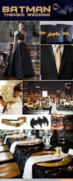 I'know I am not to think of wedding stuff right now, but this isToo Freakin Cool to pass up! Batman Themed Wedding ( ditto... cause I'm not even engaged) I love how classy the place settings are and the gold tie... not crazy about the rest of it.