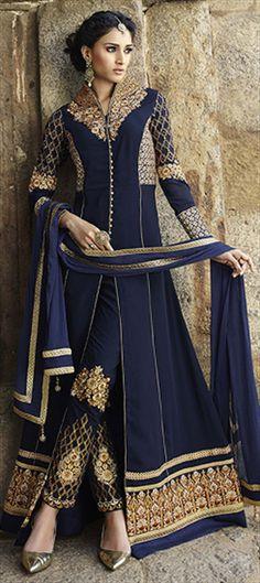 450821: Blue color family stitched Party Wear Salwar Kameez .                                                                                                                                                     More