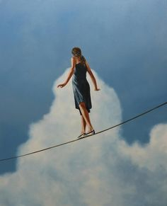 Eric Zener - Across the Divide, Contemporary Figurative Oil Painting, Female, Blue Sky - Elena Farrens Large Painting, Oil Painting Abstract, Figure Painting, Abstract Art, Acrylic Paintings, Abstract Portrait, Watercolor Art, Contemporary Landscape, Contemporary Paintings