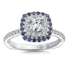 Diamond and Blue Sapphire Halo Engagement Ring Mounting in 14k White Gold with Platinum Head | Caro74