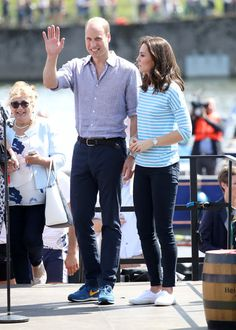 Prince William, Duke of Cambridge and Catherine, Duchess of Cambridge after participating in a rowing race between the twinned town of Cambridge and Heidelberg on day 2 of their official visit to Germany on July 20, 2017 in Heidelberg, Germany.