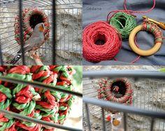 Very cute bird's house made of crochet at  http://gedane.over-blog.com/article-nichoir-pour-oiseau-en-crochet-109058321.html#