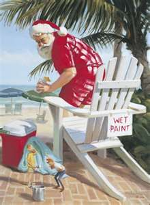 Tom Browning:  Santa about to sit on freshly painted chair at beach with mini elves