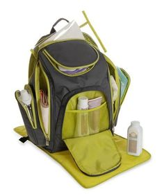 """Babyboom """"All Day"""" Diaper Backpack - gray/sage, one size"""