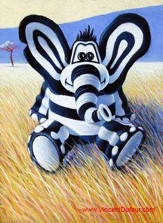 """Tableau éléphant """"Titou logo"""" de Vincent Dufour (Pastel 50/65cm). Tous les tableaux et déclinaisons de Titou l'éléphant sur http://www.vincentdufour.com/fr/16-le-monde-de-titou-tableau-chambre-enfant-tableau-chambre-bebe#/animal-elephant # tableau, chambre, enfant, bébé, dessin, peinture, déco, décoration"""