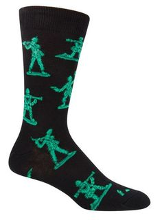 Black crew socks with green army men.   Fits men's shoe size 8-12.5.