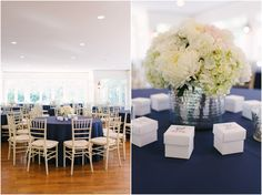 Navy + White Sweet, Simple, Lovely wedding reception decor| Photo Credit: Rustic White Photography