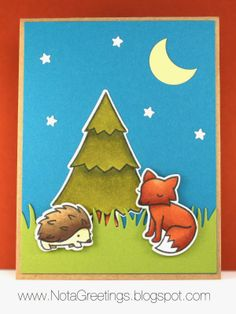 """""""Nocturnal Nature""""- Copic, Lawn Fawn, Critters in the Forest, Night, Fox, Porcupine, Cajun Craze, Island Indigo, Kraft, Old Olive, Chocolate Chip. Handstamped Greeting Card, Papercrafting, Stampin' Up, By Nota Greetings"""