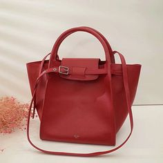 Celine Small Big Bag with Long Strap in Red Calfskin Leather 0ce8ca3478cf6