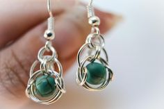Unique gift idea - Chain maile - bead - earring- handmade - silver - jewelry -  for her