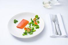 Confit salmon, spring salad
