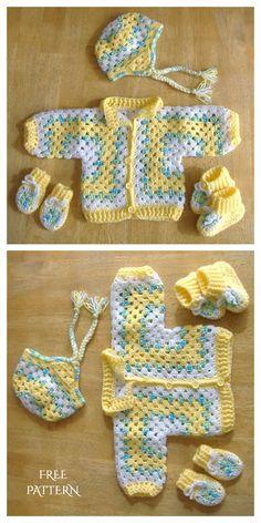 Granny Hexagon Baby Jacket Free Crochet Pattern + Video - DIY Magazine, knitting for babies, Crochet Baby Sweater Pattern, Crochet Baby Jacket, Crochet Baby Sweaters, Baby Sweater Patterns, Baby Shoes Pattern, Baby Girl Crochet, Crochet Baby Shoes, Crochet Baby Clothes, Baby Knitting Patterns