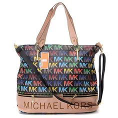4e8c279b7a12 Michael Kors Classic Monogram Removable Strap Large Black Multicolor Tote  Bags Michael Kors Tote Bags