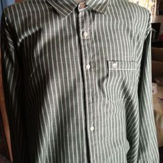 TIMBERLAND Mens XXL Casual Shirt L/S Button Front Green Striped Front Pocket EUC #Timberland #ButtonFront