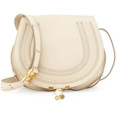 Chloe Marcie Horseshoe Crossbody Bag ($1,395) ❤ liked on Polyvore featuring bags, handbags, shoulder bags, purses, bolsas, crossbody purse, leather shoulder handbags, hand bags, shoulder handbags and pink leather purse