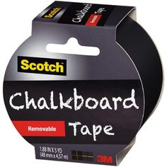 """Scotch Chalkboard Tape, 1.88"""" x 5 yd, Black Scotch Chalkboard Tape, 1.88"""" x 5 yd, Black:      Just cut, peel and stick     Write-on with chalk     Erase with a tissue, cloth or chalk eraser     Black removable tape is excellent for crafting, decorating and labeling"""
