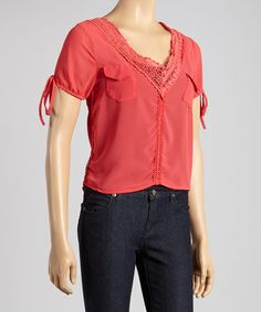 Another great find on #zulily! Red Crochet V-Neck Top by Princess #zulilyfinds