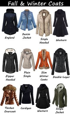 Suffice it to say, pretty fall and winter outfits are what we live in this time of year—so we select 16 Top coats or jackets for this fall and winter. Choose your style, keep warm in cold day Fashion Terminology, Fashion Terms, Fashion Mode, Teen Fashion, Winter Outfits Women, Winter Fashion Outfits, Fall Outfits, Casual Outfits, Cute Outfits