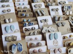 re-packaging my handmade ceramic studs and earrings. angrypixie.co                                                                                                                                                     More