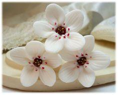 White Cherry Blossom Hair Pin - White Sakura Bridal Hair Accessories, Sakura, Japanese Flowers, Wedding Hair Flower