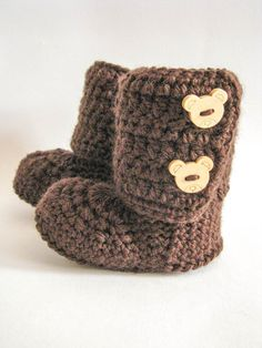 Cocoa Bean Crochet Baby Ankle Booties by Vanillaknitsandbits, $17.00