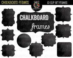 $7 Digital clip art chalkboard frames