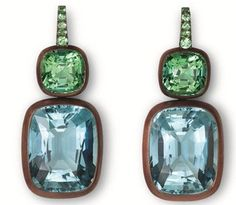 I've become obsessed with these gorgeous Hemmerle earrings. The pale blue aquamarine and sea foam-colored tourmalines...