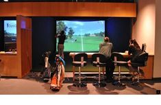 Golf all winter long indoors at OptiGolf in Middleton Golf Bar, Golf Room, Trendy Golf, Golf Academy, Golf Cart Accessories, Golf Club Grips, British Open, Golf Simulators, Driving Tips