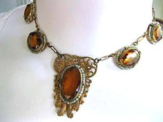 Topaz Glass, Brass Filigree Necklace, Austro-Hungarian Revival, Faceted Oval Stones, Wired Pearl Surrounds, Pierced Medallion, Czech era by GemParlor on Etsy