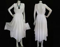 Hippie Bohemian White Cotton Wedding Halter Maxi Dress tie-dye-wedding