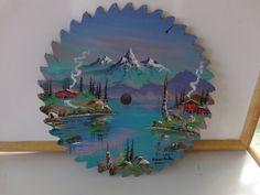 Beautiful hand Painted Scenic View on a Vintage by Morethebuckles