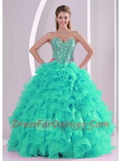 2015 Romantic Fall Sweetheart With Ruffles and Beaded Decorate In Turquoise For Quinceanera Gowns