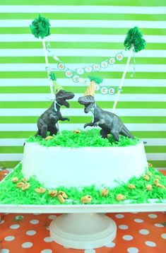 Orange and Green Dinosaur 4th Birthday Party - Kara's Party Ideas - The Place for All Things Party