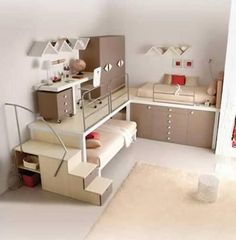 Teen Girl Bedrooms - Sweet and awe inpsiring teen room decor ideas. Desperate for other super teen room styling information why not jump to the image for the pin suggestion 5297022466 now Modern Bunk Beds, Cool Bunk Beds, Kid Beds, Corner Bunk Beds, Bunk Bed With Desk, Modern Bedrooms, Bedroom Loft, Dream Bedroom, Kids Bedroom