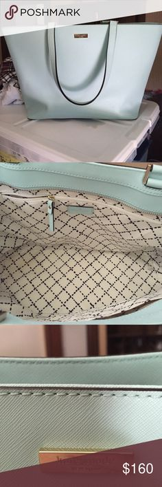 Kate Spade handbag in Tiffany Blue, lightly used. Medium to Large, Tiffany Blue, minor scuff on bottom side of bag, lightly used (5x), looks almost brand new, two straps, kate spade logo kate spade Bags Totes