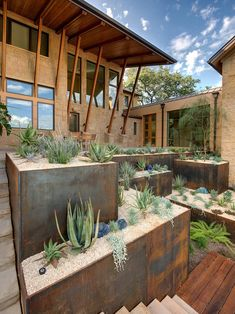 """Modern Low Water Landscape Designs For San Dieg Design - love the """"layers"""" of design and simplicity. I can only imagine what the inside of the house looks like..."""
