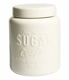 Product Detail | H&M US  -  Ceramic jar with a lid and raised text. Size 4 1/4 x 5 1/2 in.      lj